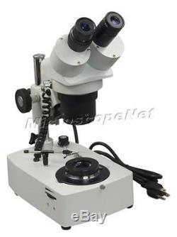10X-20X-30X-60X Binocular Stereo Darkfield Gem Microscope+Jewelry Clip