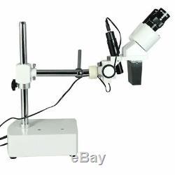 10X Widefield Stereo Microscope, Binocular, Single Arm Boom Stand, LED Top Light
