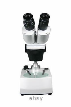 10x-30x Binocular Stereo Microscope w Top Bottom Pole Type Light Stand
