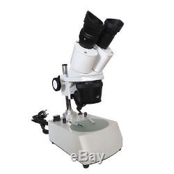 20X-30X-40X-60-80X Illuminated Binocular Stereo Microscope w Top Bottom LED lamp