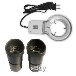 20X-30X-40X-60X-80X Illuminated Stereo Microscope with Fluorescence Ring Light
