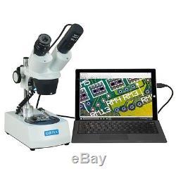 20X-40X-80X Cordless Stereo Binocular Dual LED Lights Microscope w USB Camera