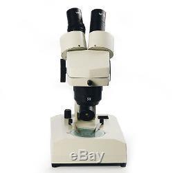 20X 40X Binocular Stereo Microscope with Top Bottom Halogen Lamp Illuminated
