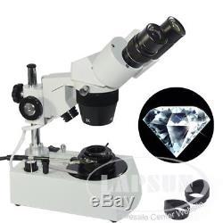 20X-40X Jewelry Gem Diamonds Stereo Binocular Microscope Darkfield Condenser UK