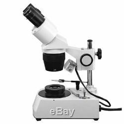 20X-40X Jewelry Gem Stereo Microscope, Binocular + Dark Field Condenser