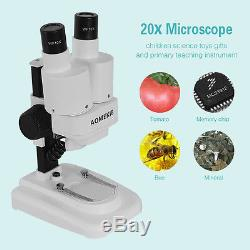 20X LED Binocular Stereo Microscope PCB Solder Tool Insect Plant Educational