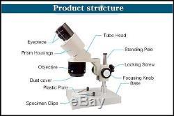 20x-40x Industrial Binocular Stereo Microscope Repair Tool PCB Inspection