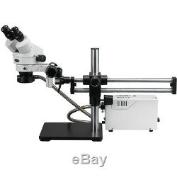 3.5-90X Binocular Stereo Microscope w Fiber Light + Ball Bearing Stand