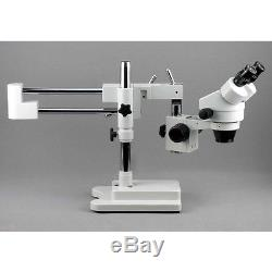 3.5X-90X Binocular Stereo Zoom Microscope with Double Arm Boom Stand