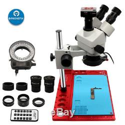 3.5X-90X Trinocular Stereo Microscope with 144-LED Ring Light 21MP HDMI Camera