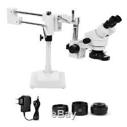3.5X-90X Zoom Stereo Microscope Binocular Rotatable Head Double Arm Boom Stand