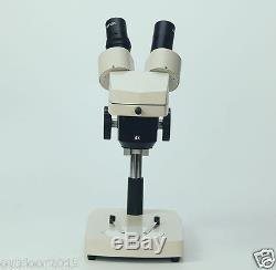 360 Degree Rotatable Binocular Head 20X-40X Stereo Microscope with Ring Light