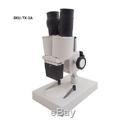40X Illuminated Binocular Stereo Microscope with WF10X Eyepiece 4X Objective Lens
