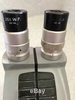 AMERICAN OPTICAL SPENCER Cycloptic Series Stereo Microscope with Clamp Stand