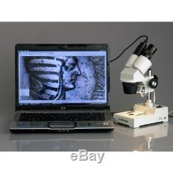 AmScope 10X-20X-30X-60X Wide Sharp Binocular Stereo Microscope + 1.3MP Camera