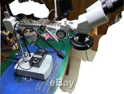 AmScope 10X-20X LED Binocular Stereo Microscope Boom Arm with Gooseneck Light