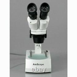 AmScope 10X-30X Binocular Stereo Microscope with 2 Halogen Lights