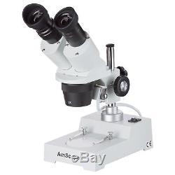 AmScope 10X-30X Forward Binocular Stereo Microscope + 15pc Mineral Rock Samples