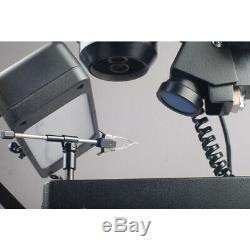 AmScope 10X-40X Trinocular Stereo Microscope w 3-Lights + Jewelry Gem Clamp