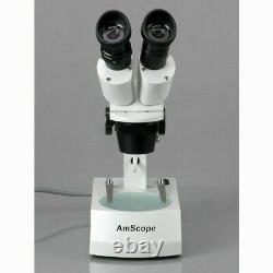 AmScope 10X-60X Binocular Stereo Microscope w 3D View Option Top & Bottom Lights