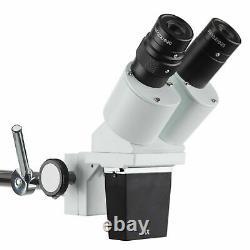 AmScope 10X Binocular Stereo Microscope on Boom Arm Stand + LED Gooseneck Light