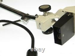 AmScope 10X LED Binocular Stereo Microscope Boom Arm + LED Gooseneck