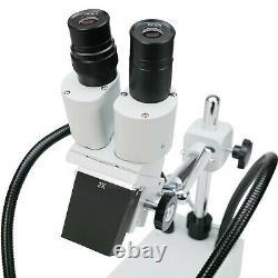 AmScope 20X Compact Fixed-Lens Stereo Boom-Arm Microscope + Dual Gooseneck LEDs