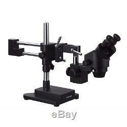 AmScope 3.5X-180X Binocular Stereo Zoom Microscope + Double Arm Boom Stand