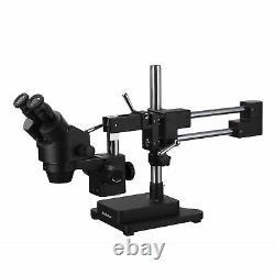 AmScope 3.5X-45X Binocular Stereo Zoom Microscope + Black Double Arm Boom Stand