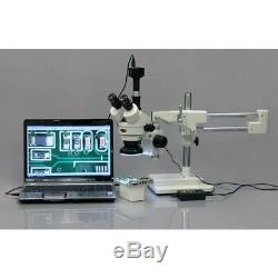 AmScope 3.5X-45X Trinocular Stereo Microscope with 4-Zone 144-LED Ring Light