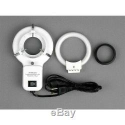 AmScope 3.5X-90X Binocular Stereo Boom Stand Inspection Microscope + Ring Light