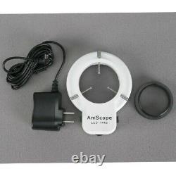 AmScope 3.5X-90X Binocular Stereo Microscope + Ball Bearing Stand + 144 LED