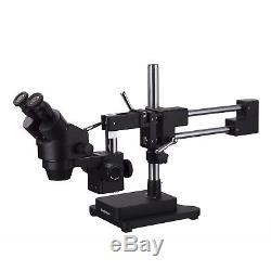 AmScope 3.5X-90X Binocular Stereo Zoom Microscope + Black Double Arm Boom Stand