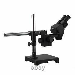 AmScope 3.5X-90X Black Stereo Zoom Microscope on Boom + 80-LED Ring-light