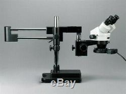 AmScope 3.5X-90X Circuit Board Assembly Boom Stand Stereo Microscope + Fluoresce