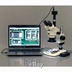 AmScope 3.5X-90X Zoom Stereo Microscope w 5MP Camera + 144-LED 4-Zone Light