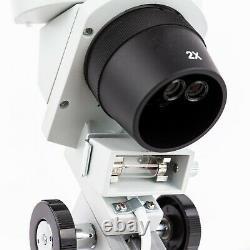 AmScope 40X-80X Compact Multi-Lens Stereo Microscope + Pillar Stand + Dual Lites