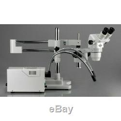AmScope 6.7X-225X Binocular Stereo Zoom Microscope On 3D Double-arm Boom Stand