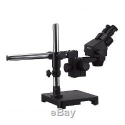 AmScope 7X-135X Black Stereo Zoom Microscope + Single Arm Boom Stand