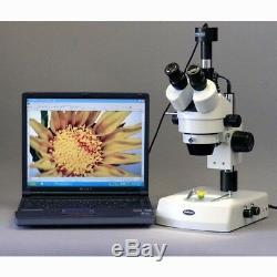 AmScope 7X-135X Trinocular Stereo Zoom Microscope + Dual Halogen Lights