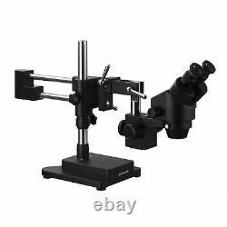 AmScope 7X-45X Binocular Stereo Zoom Microscope + Double Arm Boom Stand