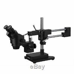 AmScope 7X-45X Binocular Stereo Zoom Microscope + Double Arm Boom Stand Black