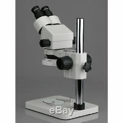 AmScope 7X-45X Stereo Binocular Microscope 14 Pillar Stand & 64-LED Ring Light
