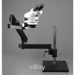 AmScope 7X-45X Stereo Zoom Microscope on Articulating Table Stand + Ring Light