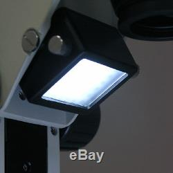 AmScope 7X-45X Track Stand Stereo Zoom Binocular Microscope w Dual LED Lights