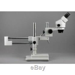 AmScope 7X-90X Binocular Stereo Zoom Microscope with Double Arm Boom Stand