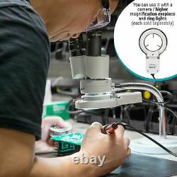AmScope 8x Binocular Stereo Inspection Microscope on Rotatable Gooseneck Arm
