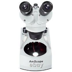 AmScope Cordless 20X-40X Stereo Microscope w Top & Bottom LED Lights Multi-Use