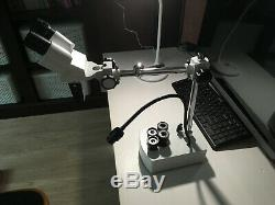 AmScope SE400-Z 10X-20X LED Binocular Stereo Microscope Boom Arm + LED Gooseneck