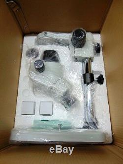 AmScope SM-1BS-V203 7X-45X Binocular Stereo Microscope with Stand & Extras